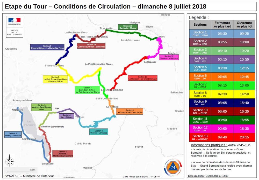 Fermeture route Tour de France Annecy