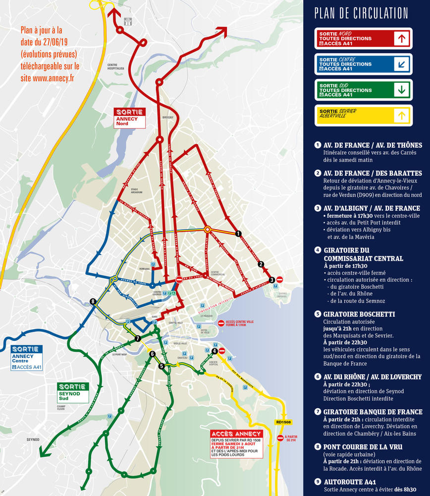 Plan circulation Annecy Fête du Lac