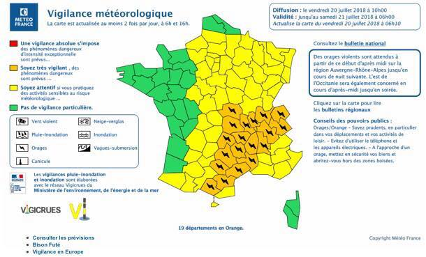 Alerte orange aux orages en Haute-Savoie - Carte viligence Météo France