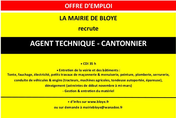Offre d'emploi agent techique Bloye